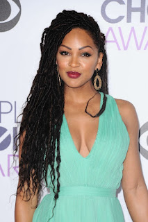 Meagan Good Long black goddess locs with hair pulled to side