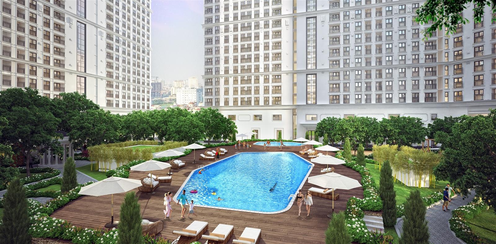 Bể bơi ngoài trời chung cư The Emerald
