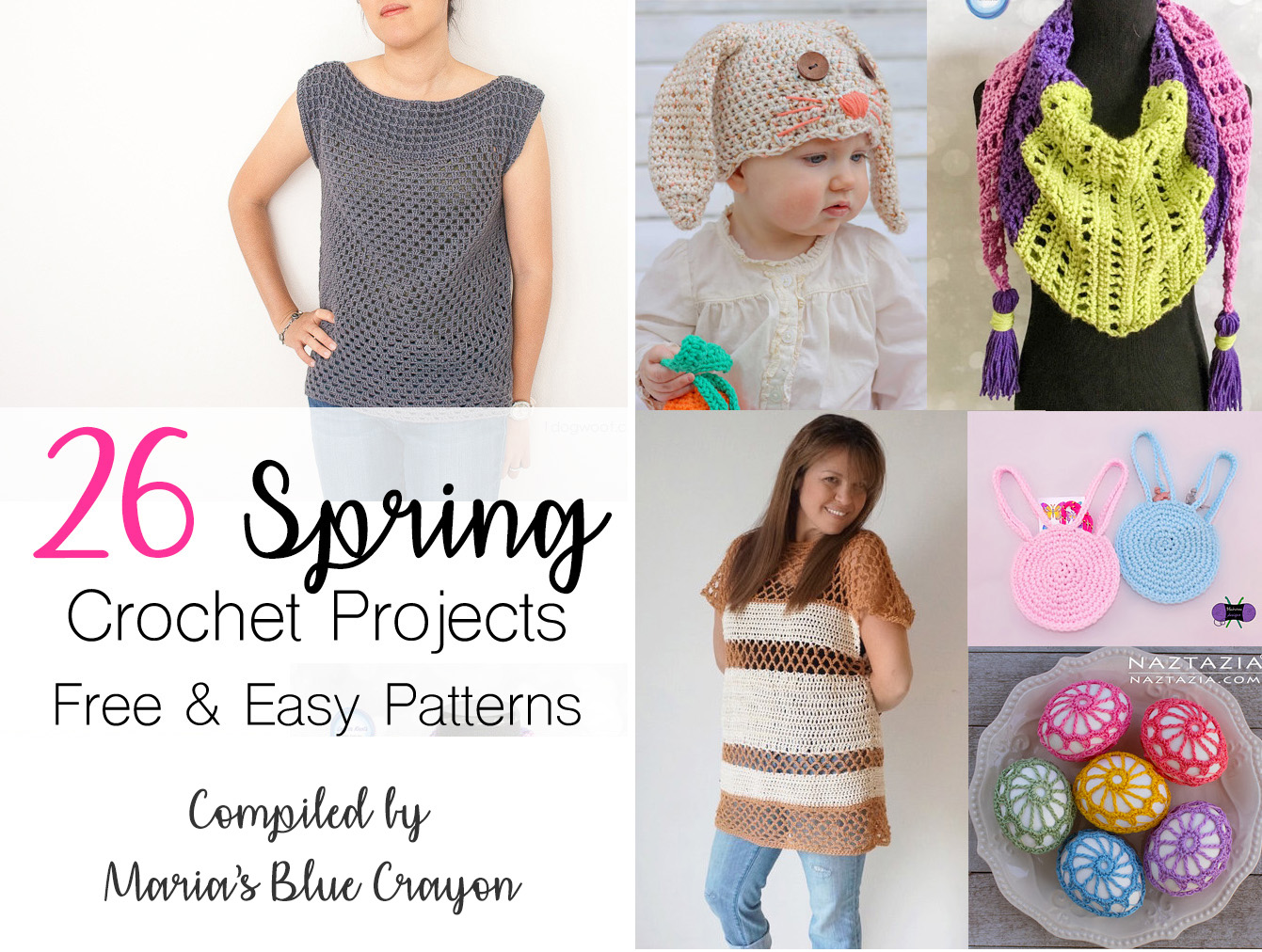 Free and Easy Crochet Patterns for Spring - Maria\'s Blue Crayon