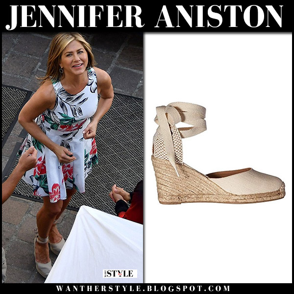 Jennifer Aniston in white floral dress and wedge sandals soludos summer style july 31 movie set