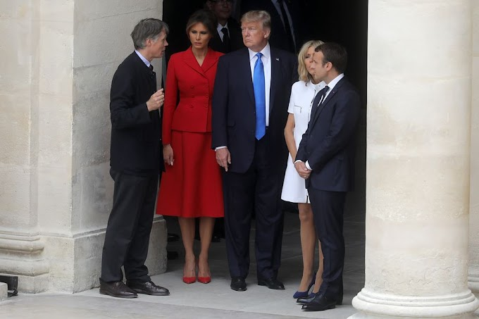 Video: Macron's wife 'in such good shape' - Donald Trump