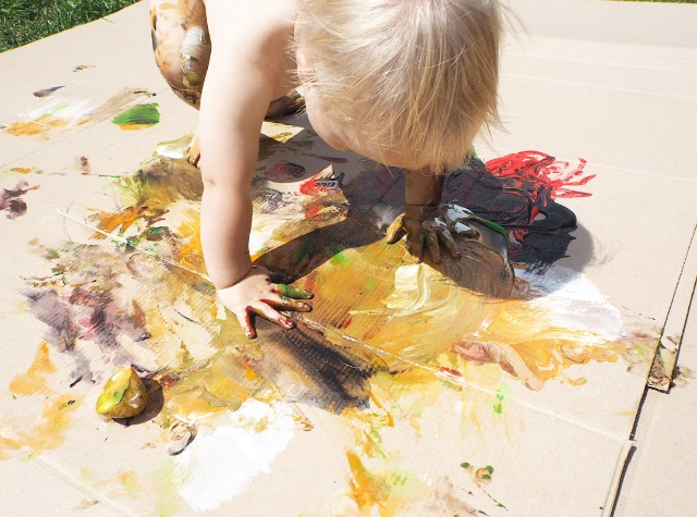 messy play with paint, great for sensory and exploring senses