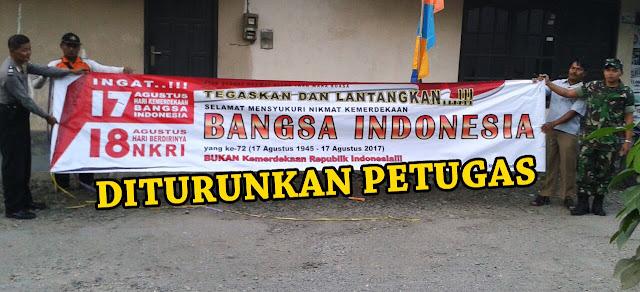 Petugas Turunkan Paksa Spanduk Penolakan Hari Kemerdekaan Republik Indonesia di Kebumen