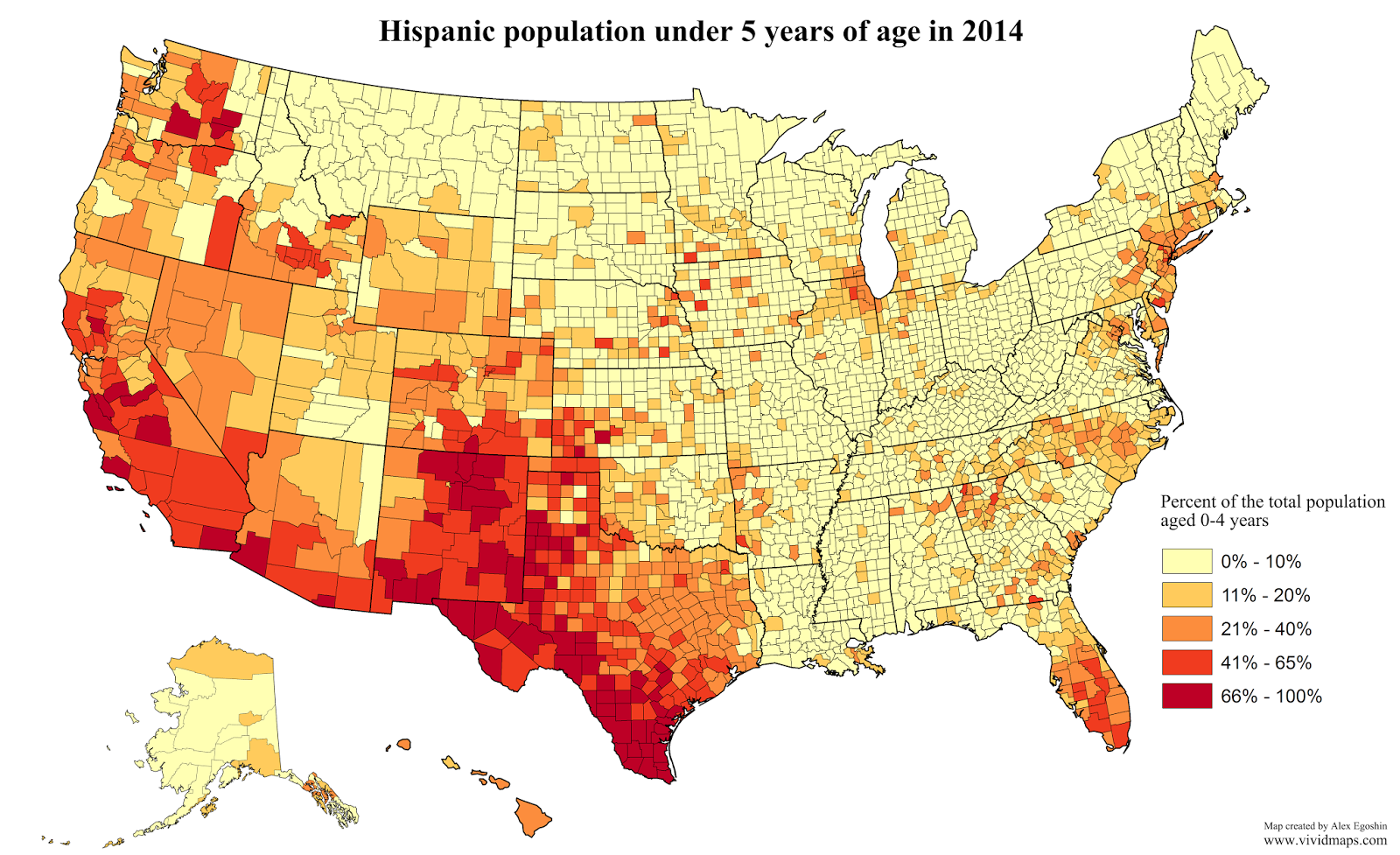 Hispanic population under 5 years of age in 2014