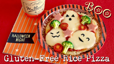 HALLOWEEN Ghost Rice Pizza (No Oven Gluten-Free Recipe)