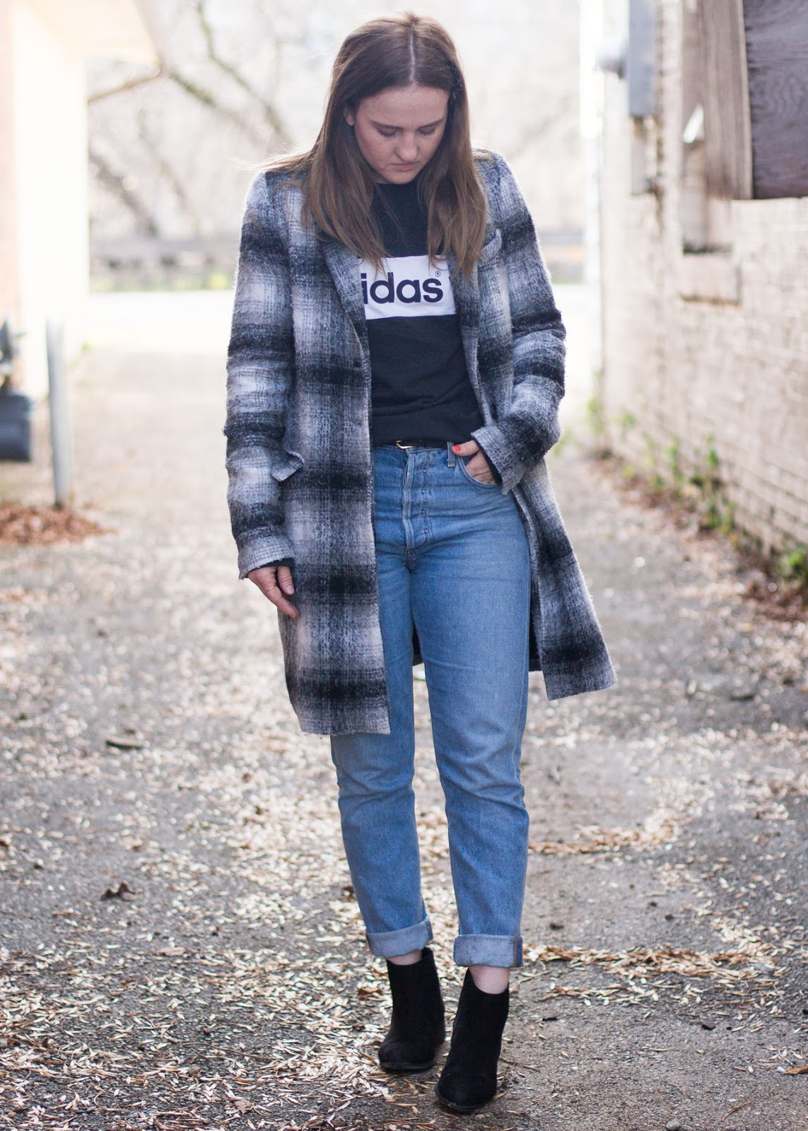 Coat Season - Winter style - Zara - Adidas sweat shirt - AGOLDE jeans - H&M boots