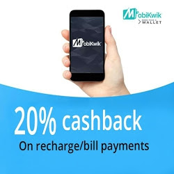 get 20% cashback on mobikwik online recharge and bill payment.