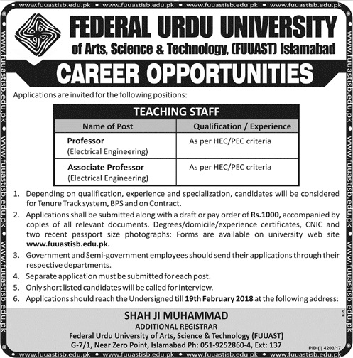 Federal Urdu University of Arts Science & Technology Latest Today Jobs