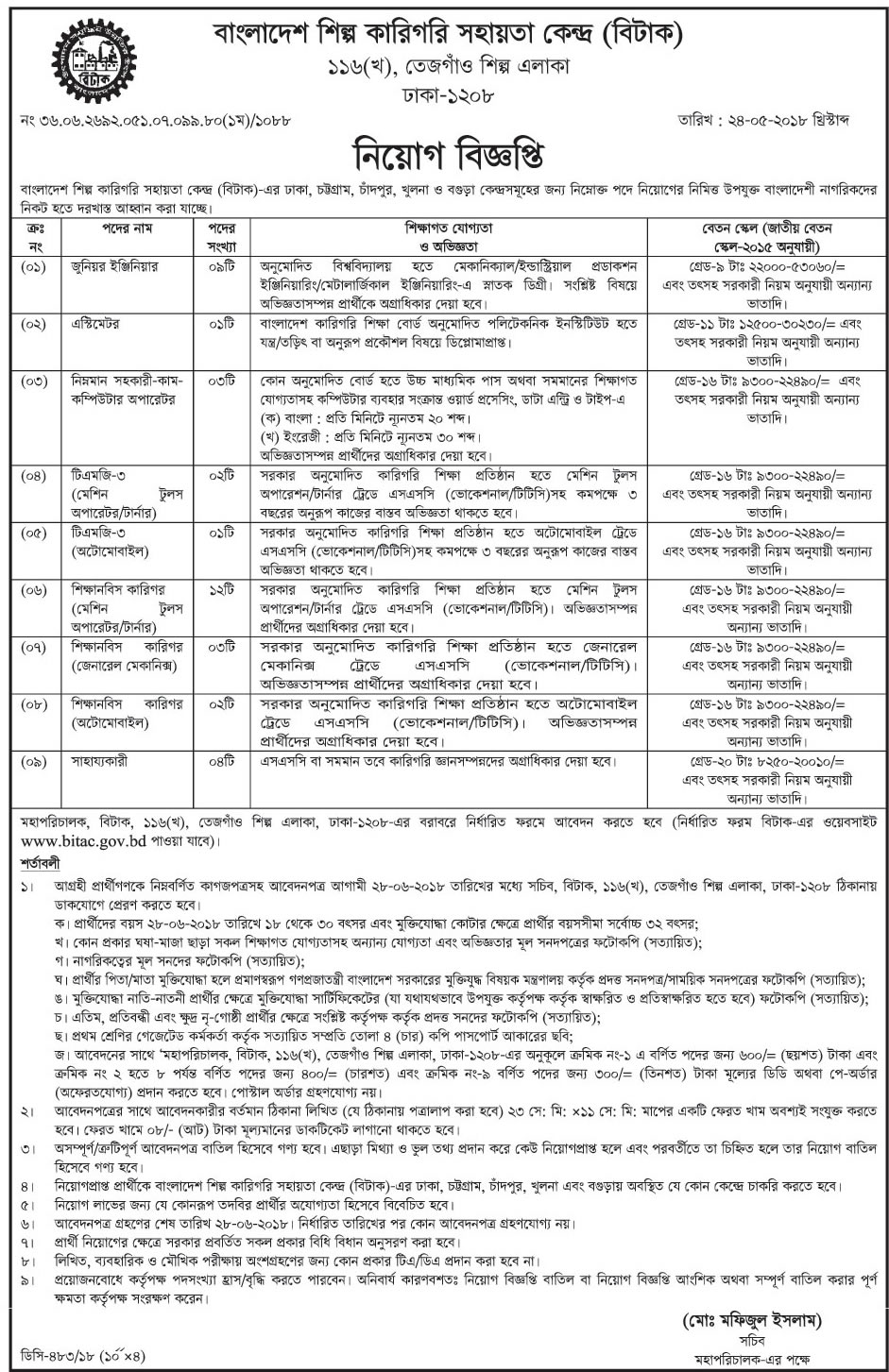 Bangladesh Industrial and Technical Assistance Center (BITAC) Job Circular 2018