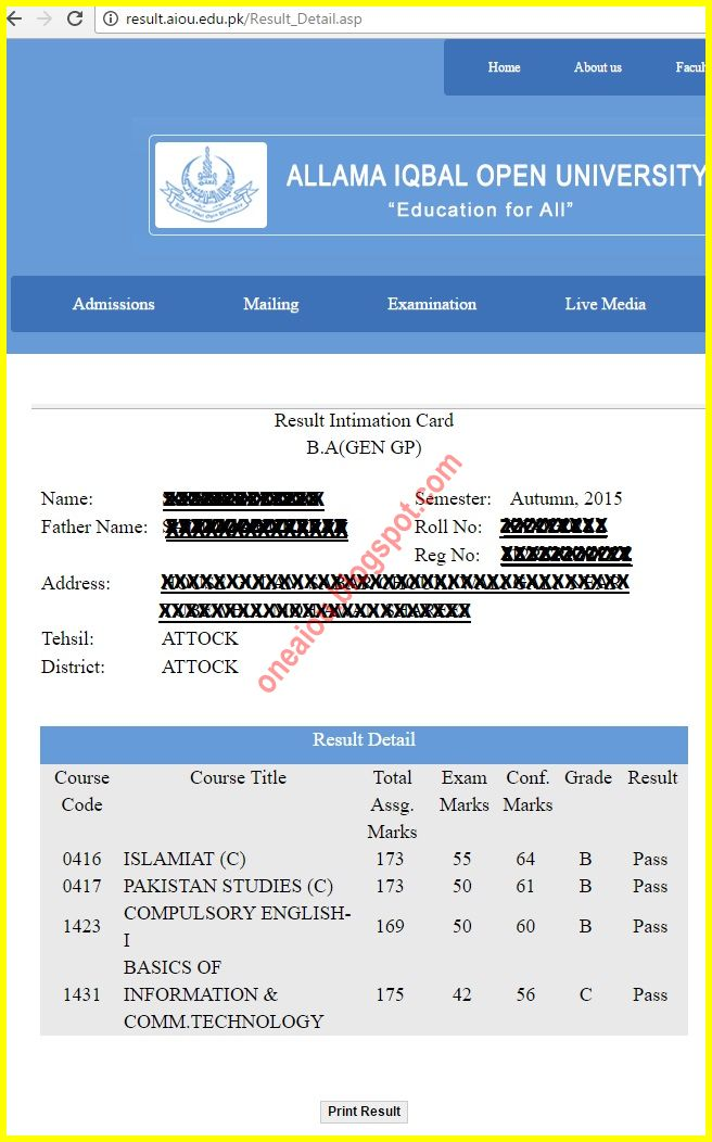 aiou assignment result