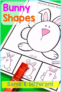 Clothespin task cards bunny shapes  to teach same and different in spring speech therapy