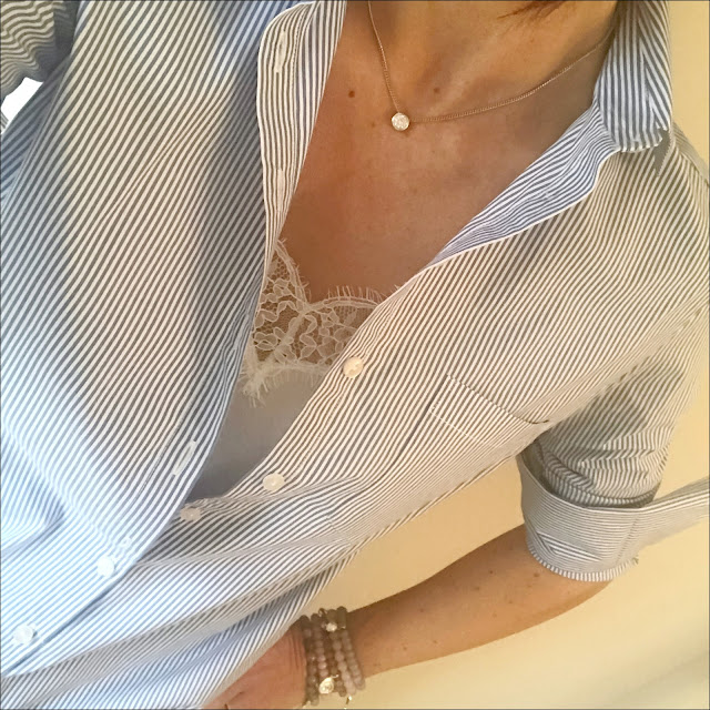 My Midlife Fashion, baukjen thompson shirt, baukjen the boyfriend jeans, the white company silk lace trim cami, j crew pointed metallic two tone ballet pumps