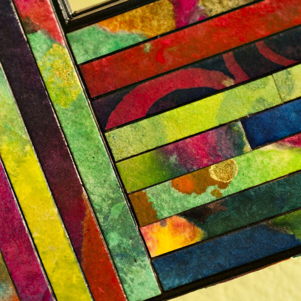 colorful painted paper frame detail