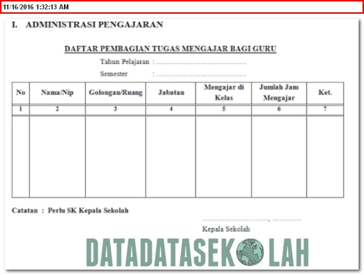Contoh Buku Ekspedisi Surat Administrasi Kepala Sekolah