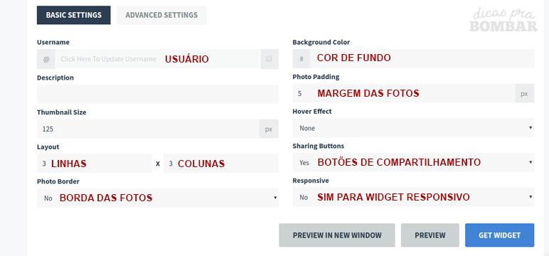 Configurações de como as fotos serão exibidas no blog.