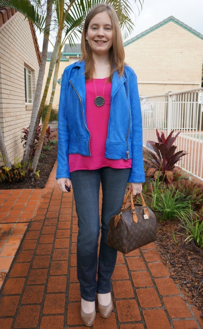 Wittner cobalt blue leather jacket heels skinny jeans colour block pink top LV speedy bag