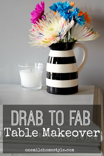 Drab to fab table makeover with grey chalk paint and wax - One Mile Home Style