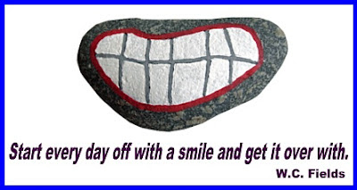 Stony Face, painted rocks, smile, mouth, quote