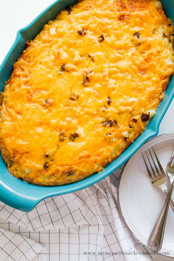 Here is a super easy recipe for Breakfast Sausage Casserole!  |  mynameissnickerdoodle.com
