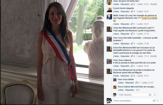 Feiza Ben Mohamed revet illégalement l'écharpe tricolore