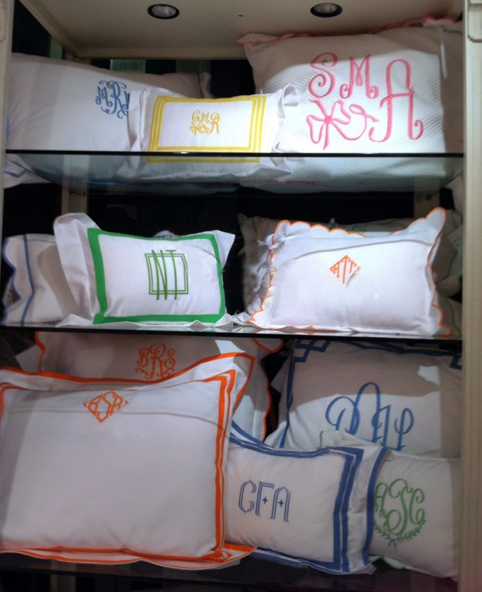 Monogrammed Pillows by Jane Wilner