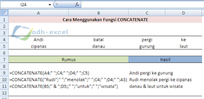 Concatenate function in excel