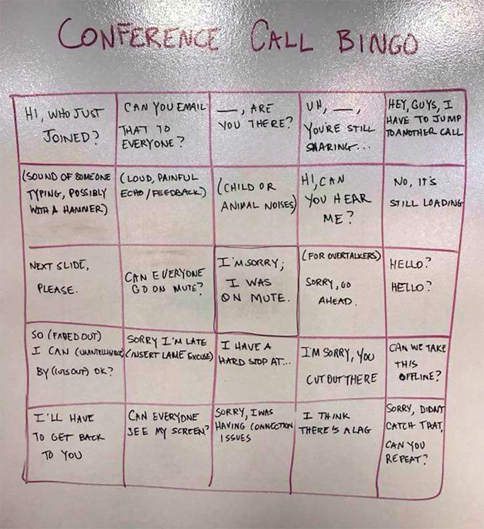 Conference Call Bingo Card