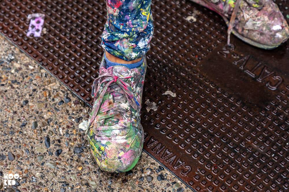 Spanish Street Artist Lula Goce's shoes covered in paint