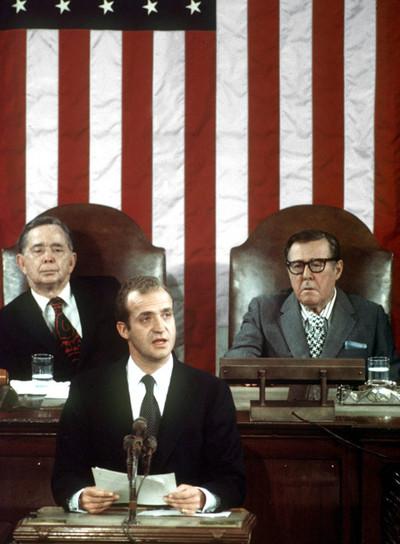 El rey Juan Carlos, en Washington durante un momento de su discurso ante el Congreso de los Estados Unidos el 2 de junio de 1976. EFE