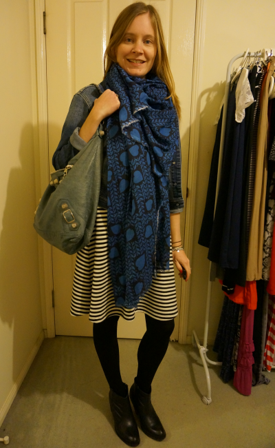 Stella McCartney heart print scarf denim jacket stripe dress print mixing ankle boots