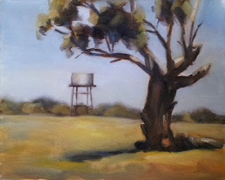 Oil painting depicting a manna gum in the foreground and a water tank on a stand in the distance.