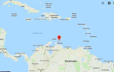 Carte des Iles ABC qui se situent dans les Caraibes au nord du Vénézuela