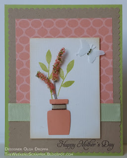 Mother's day spring card using Paper Smooches Crystal Clear set, flower soft, MOJO433 sketch