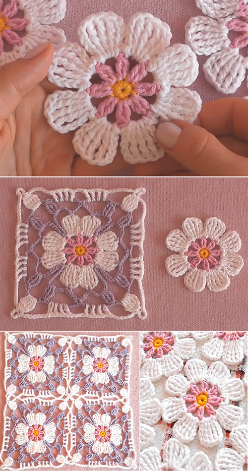 How to Crochet Flower, Make a Granny Square and Join Them