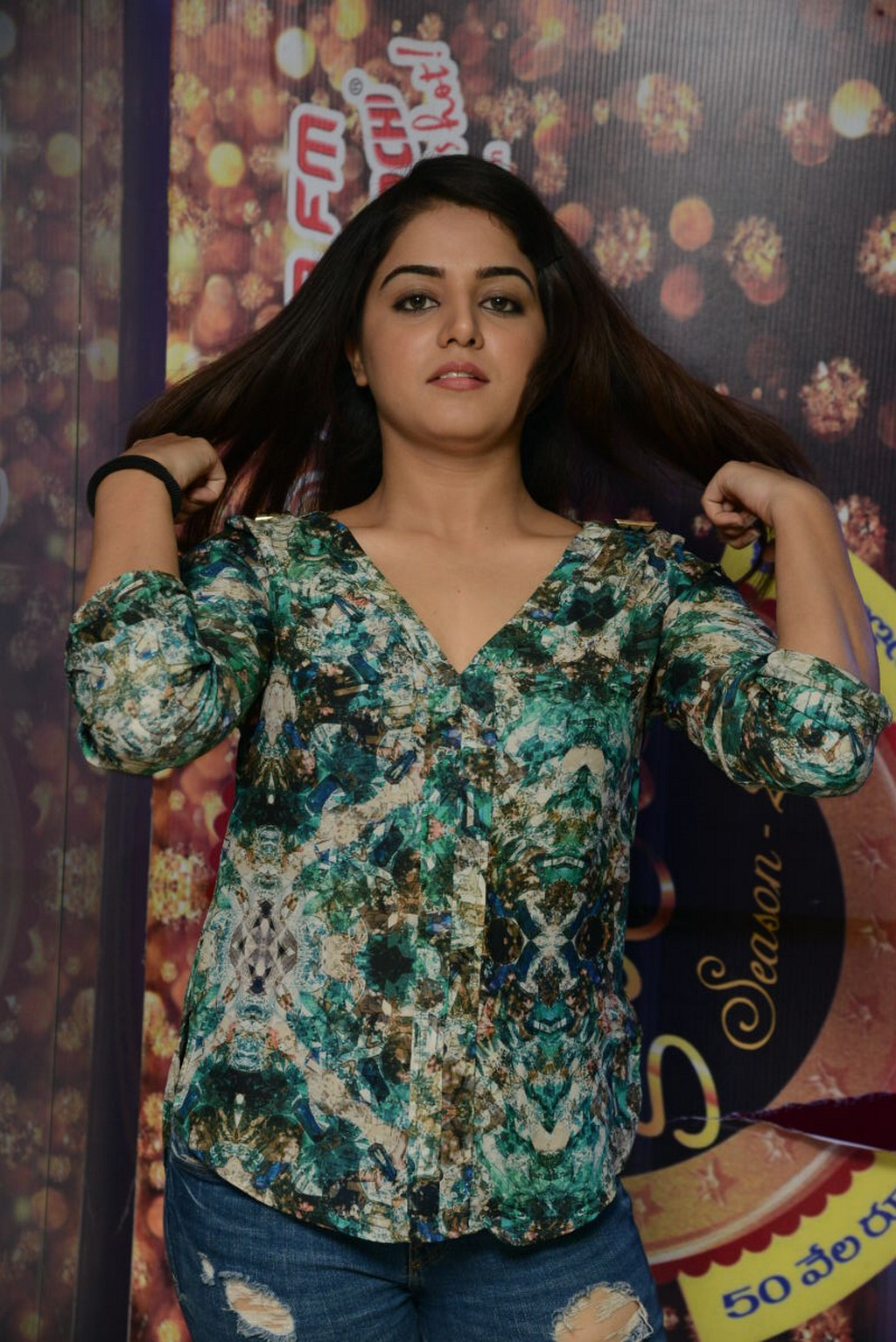 Glamours Actress Wamiqa Gabbi Hot Stills In Green Top Jeans