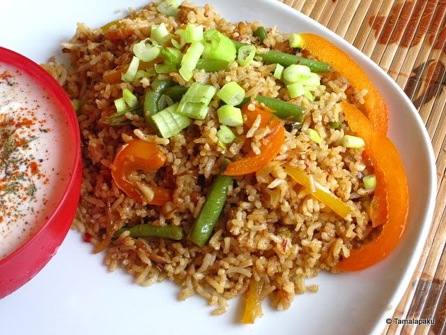Thai Vegetables Fried Rice With Coconut Milk