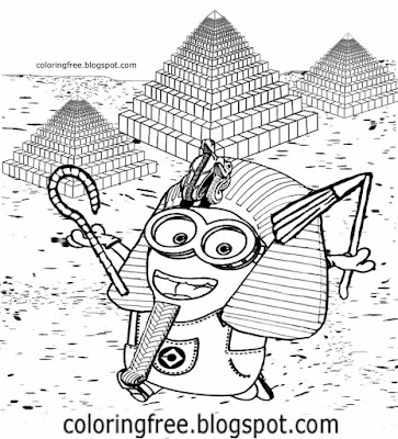 Cartoon Egyptian pyramid drawing Egypt Giza landscape pharaoh costume Minion coloring pages for kids