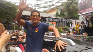 Calon Wakil Presiden Nomor urut 02, Sandiaga Uno saat berkunjung ke Kota Bogor, Kamis (8/11/2018)