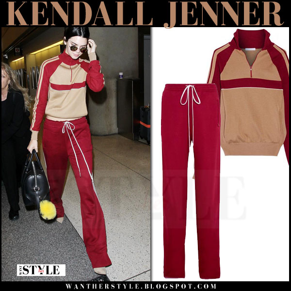 Kendall Jenner in red matching sweater and sweatpants chloe what she wore streetstyle