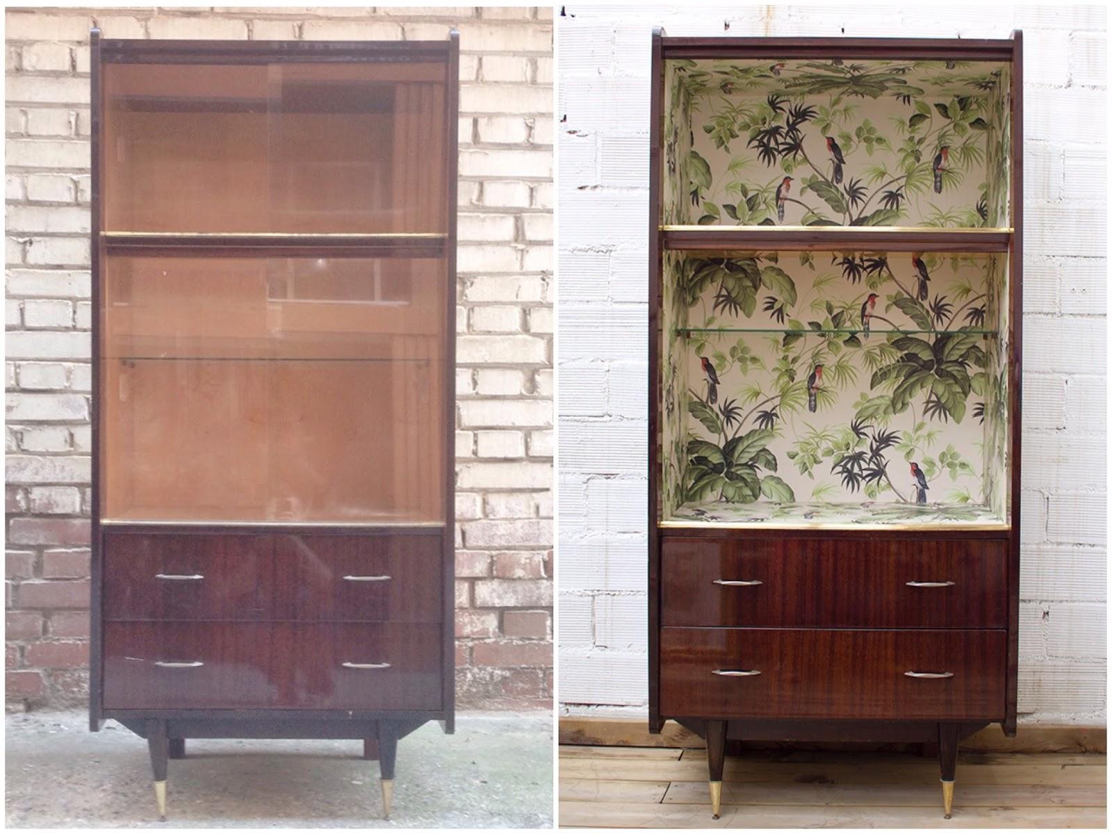 Antes y después - mueble forrado con papel pintado - Studio Alis