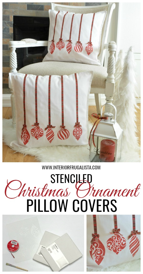 Stenciled Christmas Ornament Pillow Covers