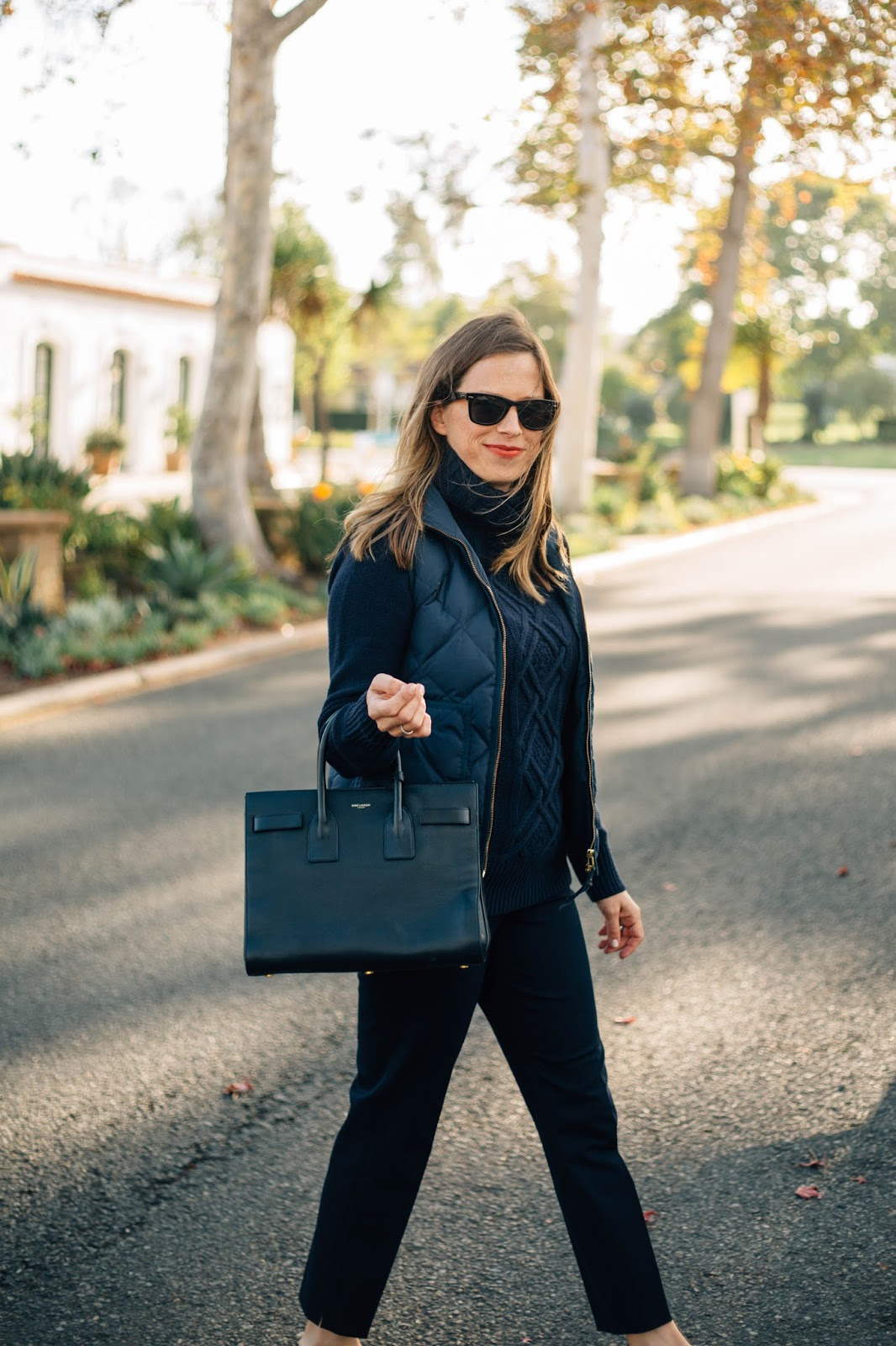 monochromatic navy outfit