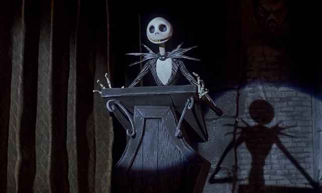 Jack Skellington trying to explain Christmas Town to his admirers, from The Nightmare Before Christmas (1993)