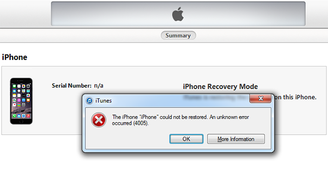 fix iphone error 4005