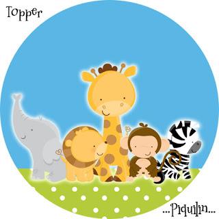 Toppers o Etiquetas para Imprimir Gratis de Tiernos Bebés de la Selva.