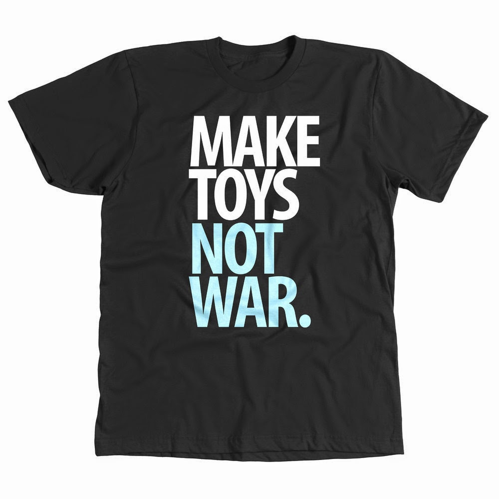 """Make Toys, Not War"" White & Black T-Shirt by Pobber Toys"