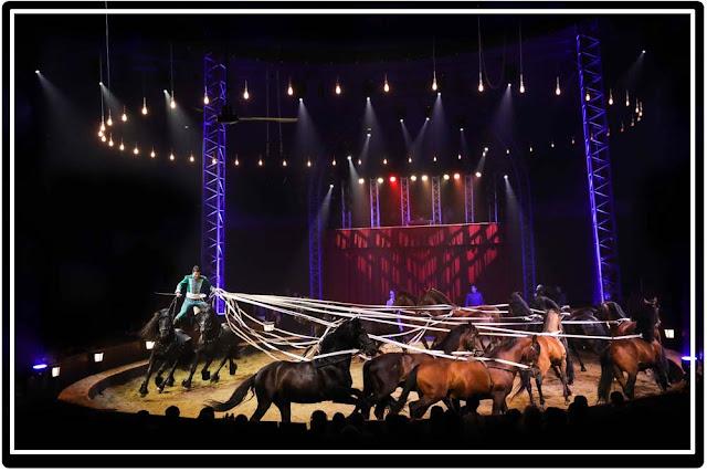 Carrousel de chevaux au cirque équestre Origines d'Alexis Gruss