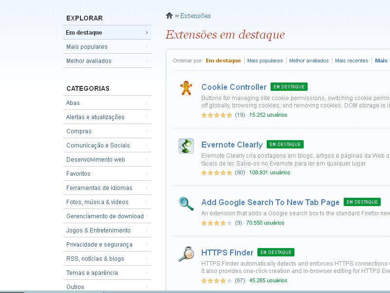 Habilitar as extensões do Firefox