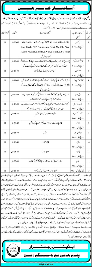 Peshawar High Court Govt Of KPK Jobs December 2019