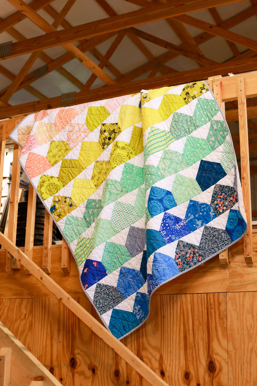 In color order finished modern house quilt for Modern house quilts